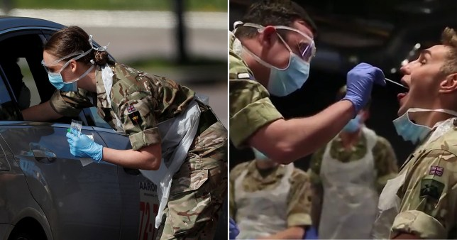 British Armed Forces personnel carry out coronavirus tests
