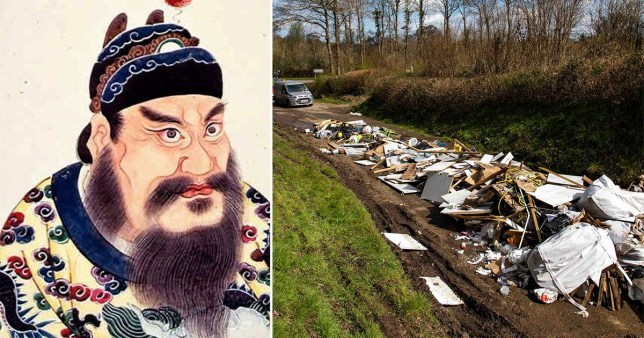 Chinese emperor Qin Shi Huang (left) and fly-tipping in Winchester during the coronavirus lockdown (right)