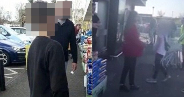 A father forced his son to apologise for threatening staff members at Asda