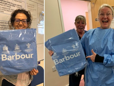 NHS staff wear gowns made by Barbour as designers join war on coronavirus