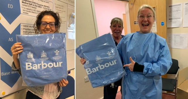 NHS staff in Newcastle show off medical gowns provide by Barbour