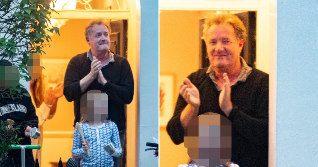 Piers Morgan clapping for the NHS on his doorstep during coronavirus lockdown