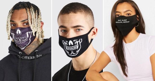 Models wearing black face mask