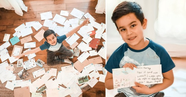 Boy with lots of letters