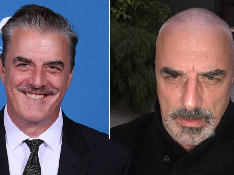 Chris Noth goes for a quarantrim and proves Mr Big looks just as dashing with a shaved head