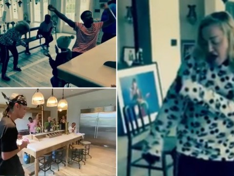 Madonna shows off her best moves during family kitchen party to celebrate 4/20