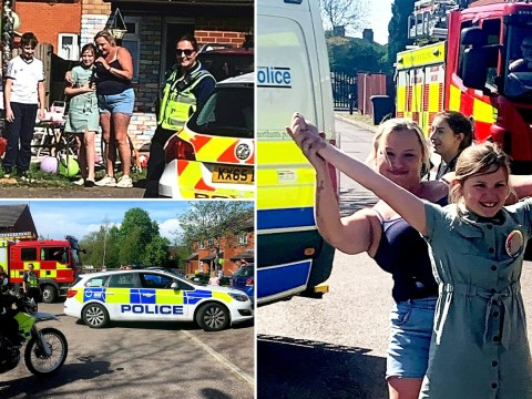 Emergency workers turn up in police cars, two fire engines and an ambulance to help girl celebrate her 11th birthday