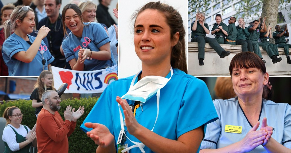 NHS staff and members of the public take part in the fifth Clap for Carers on April 23, 2020