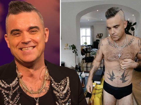 Robbie Williams strips down to his pants for 'informal lockdown Fridays' and we don't know where to look