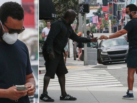 John Legend kindly stops to give homeless man $10 amid social distancing measures