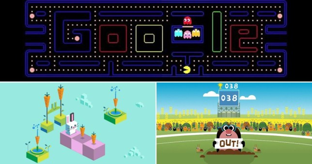 close up of google doodle games