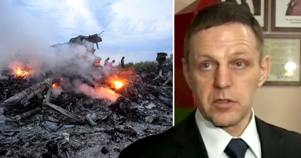 Smouldering ruins of the Malaysia Airlines flight MH17 crash in the Ukraine in 2014 (left) and FSB Colonel General  Andrei Ivanovich Burlaka, who has been linked to the Dutch-led investigation
