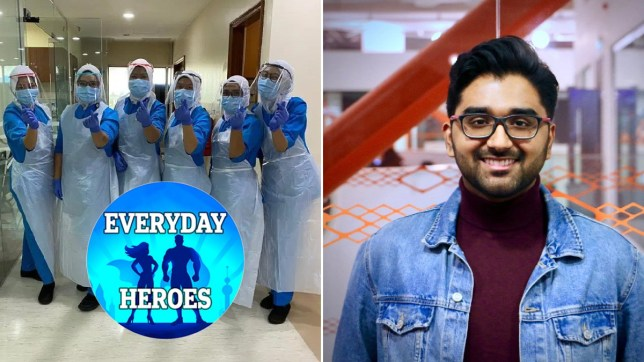 Nurses wearing the PPE that Vishan made on his 3D printer and Vishan himself