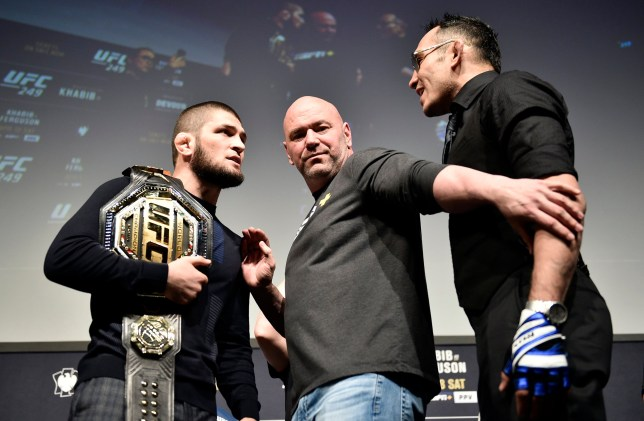 Khabib Nurmagomedov and Tony Ferguson face off during the UFC 249 press conference