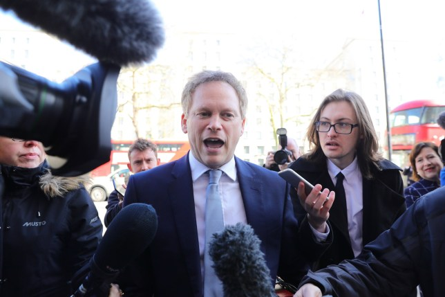 Transport Secretary Grant Shapps arrives at the Cabinet Office, London, ahead of a meeting of the Government's emergency committee Cobra to discuss coronavirus. PA Photo. Picture date: Thursday March 12, 2020. See PA story HEALTH Coronavirus. Photo credit should read: Aaron Chown/PA Wire