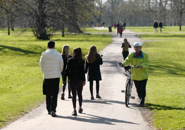 People out walking in Hyde Park during lockdown in the UK.