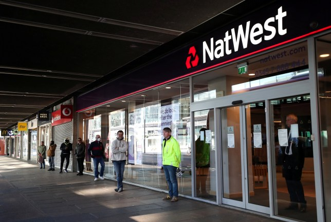 People queuing for Natwest