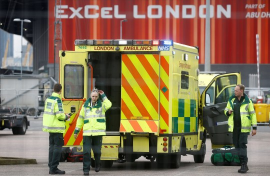 Paramedics and an ambulance are seen outside the Excel Center in London as it becomes the NHS Nightingale Hospital as the spread of coronavirus disease (COVID-19) breaks continues, London, Great Britain, April 1, 2020. REUTERS / Henry Nicholls