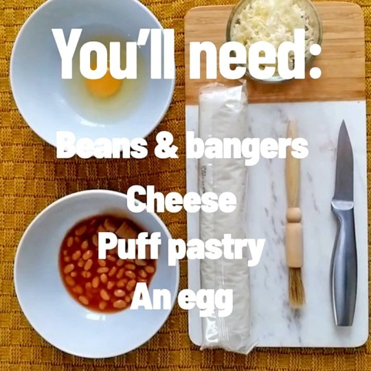 screen shot of Sausage, Cheese and Bean Melt DIY video (Picture: Greggs)