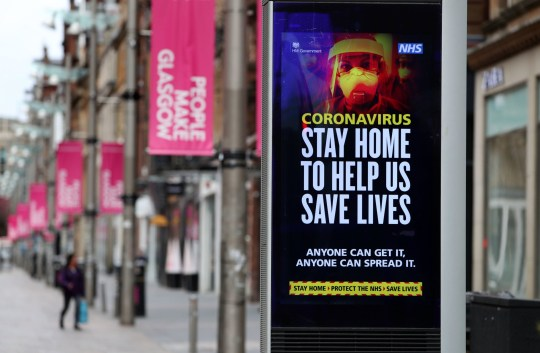 An NHS Coronavirus sign in Glasgow as the UK continues to lock in to curb the spread of the coronavirus. Photo PA. Date of the photo: Friday April 3, 2020. See the history of the AP HEALTH Coronavirus. Photo credit should read: Andrew Milligan / PA Wire