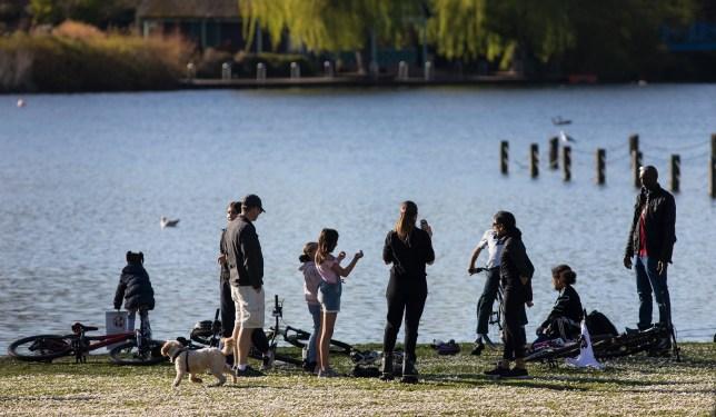 People in Regents Park, central London