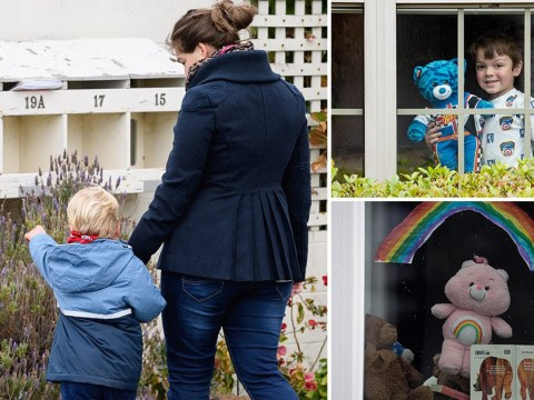 People around the world are leaving out teddy bears for children on their daily walks to spot
