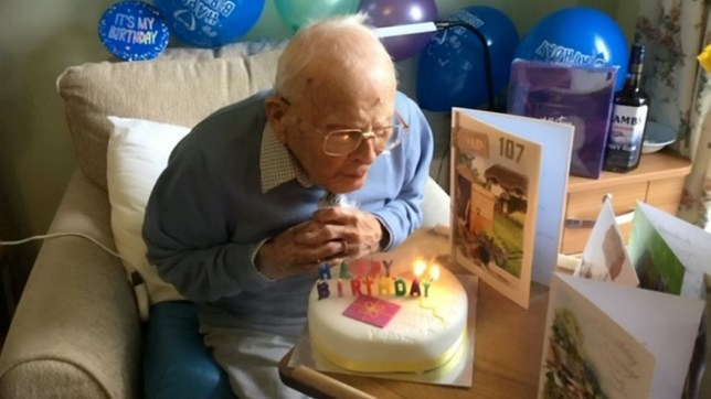 Reg Lewis celebrating his 107th birthday. See SWNS story SWPLcare. A war veteran who survived the Spanish flu epidemic has celebrated his 107th birthday with a party at his care home. Reg Lewis saw action in Singapore and India during the Second World War and only stopped working at the age of 93. He reached his latest milestone on Tuesday and due to the current social distancing rules, his relatives were unable to be with him for his birthday. But residents and staff at the Forder Lane House Care Home in Dartington, Devon, stepped in to throw Reg a party.