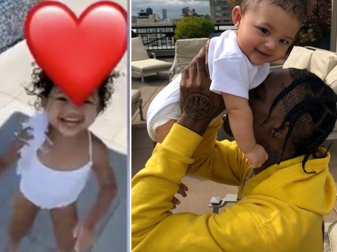 Travis Scott enjoys a splash with daughter Stormi as he spends Easter weekend with Kylie Jenner