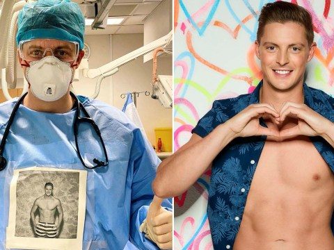 Dr Alex George wears his Love Island photo on his scrubs to make Covid-19 patients 'smile or laugh'