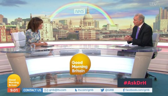 Mandatory Credit: Photo by ITV/REX (10613505af) Lorraine Kelly and Dr Hilary Jones 'Good Morning Britain' TV Show, London, UK - 15 Apr 2020