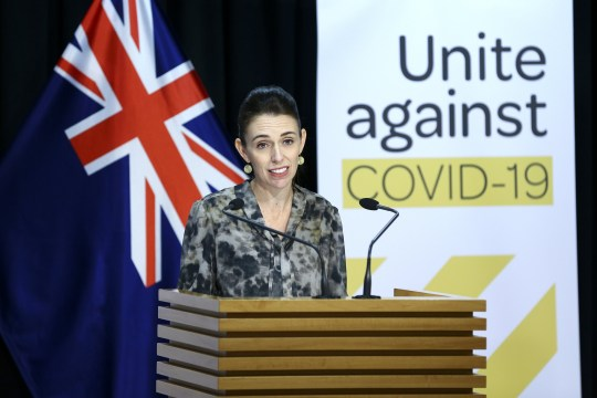WELLINGTON, NEW ZEALAND - APRIL 16: Prime Minister Jacinda Ardern speaks to media during a press conference at Parlaiment on April 16, 2020 in Wellington, New Zealand. Prime Minister Jacinda Ardern outlined details of a potential move to Alert Level 3 which will see many significant restrictions on New Zealanders movements retained, but will permit aspects of the economy to reopen in a safe way that will allow the economic recovery to begin. New Zealand has been in lockdown since Thursday 26 March following tough restrictions imposed by the government to stop the spread of COVID-19 across the country. A State of National Emergency is in place along with an Epidemic Notice to help ensure the continuity of essential Government business. Under the COVID-19 Alert Level Four measures, all non-essential businesses are closed, including bars, restaurants, cinemas and playgrounds. Schools are closed and all indoor and outdoor events are banned. Essential services will remain open, including supermarkets and pharmacies. Lockdown measures are expected to remain in place for around four weeks, with Prime Minister Jacinda Ardern warning there will be zero tolerance for people ignoring the restrictions, with police able to enforce them if required. (Photo by Hagen Hopkins - Pool/Getty Images)
