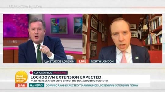 Matt Hancock tries putting Piers Morgan in his place Picture: ITV/GMB METROGRAB