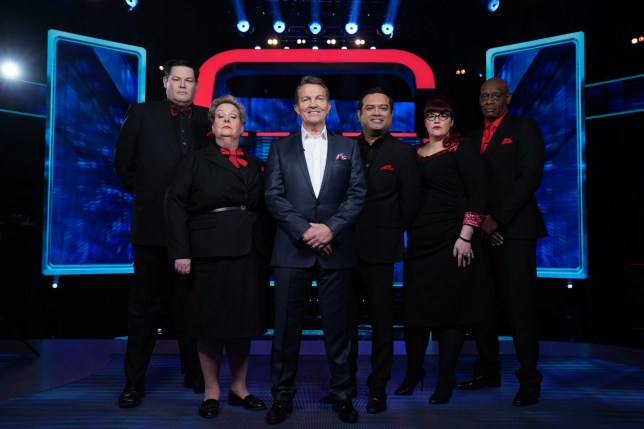 This image is strictly embargoed until 22.00 Monday 20th April 2020 From Potato Beat The Chasers on ITV Pictured: Mark 'The Beast' Labbett, Anne 'The Governess' Hegerty, Bradley Walsh, Paul 'The Sinnerman' Sinha, Jenny 'The Vixen' Ryan and Shaun 'The Dark Destroyer' Wallace. This photograph is (C) ITV Plc and can only be reproduced for editorial purposes directly in connection with the programme or event mentioned above, or ITV plc. Once made available by ITV plc Picture Desk, this photograph can be reproduced once only up until the transmission [TX] date and no reproduction fee will be charged. Any subsequent usage may incur a fee. This photograph must not be manipulated [excluding basic cropping] in a manner which alters the visual appearance of the person photographed deemed detrimental or inappropriate by ITV plc Picture Desk. This photograph must not be syndicated to any other company, publication or website, or permanently archived, without the express written permission of ITV Picture Desk. Full Terms and conditions are available on the website www.itv.com/presscentre/itvpictures/terms For further information please contact: james.hilder@itv.com / 0207 157 3052