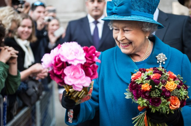 Queen Elizabeth II meeting the crowd after her visit to the Royal Commonwealth Society in London