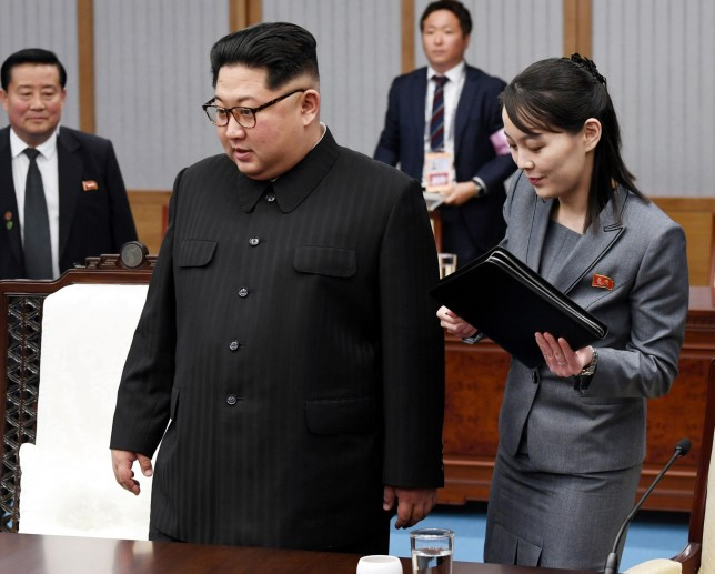 North Korean leader Kim Jong Un (L), alongside Kim Yo Jong, his sister and a senior official of the ruling Workers' Party, attends a meeting with South Korean President Moon Jae In at the House of Peace on the South Korean side of the border village of Panmunjeom on April 27, 2018. (Korea Summit Press Pool) (Kyodo) ==Kyodo (Photo by Kyodo News Stills via Getty Images)