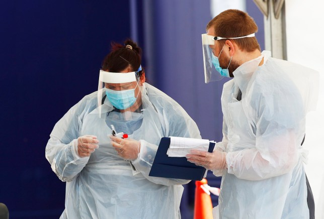 NHS workers wearing PPE