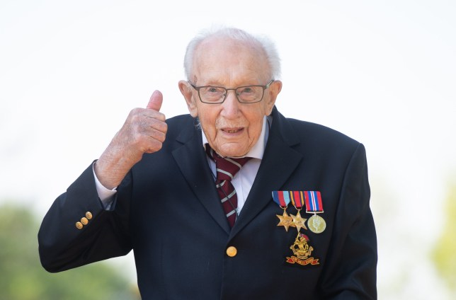 File photo dated 16-04-2020 of 99-year-old war veteran Captain Tom Moore at his home in Marston Moretaine, Bedfordshire, after he achieved his goal of 100 laps of his garden. PA Photo. Issue date: Tuesday April 21, 2020. Lando Norris has invited Captain Tom Moore to visit McLaren?s headquarters in Woking once the lockdown is lifted as he congratulated the 99-year-old on his mammoth fundraising effort for the NHS. See PA story AUTO Norris. Photo credit should read Joe Giddens/PA Wire.