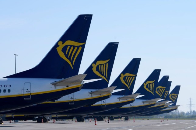 Planes with Ryanair logo on
