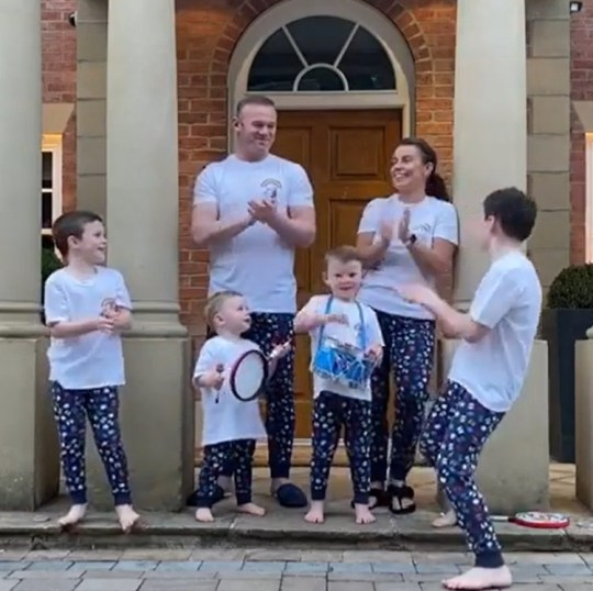 Coleen Rooney and family clap for NHS heroes