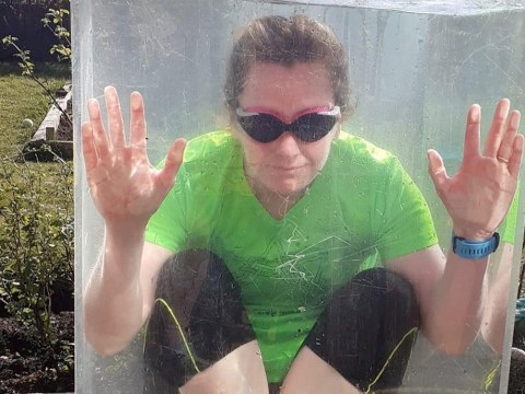 Wild swimmer missing the sea hangs out in a 300-litre tank filled with cold water in her back garden in lockdown