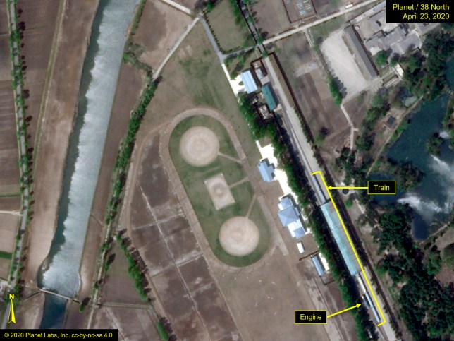This Thursday, April 23, 2020, satellite image provided by Planet Labs and annotated by 38 North, a website specializing in North Korea studies, shows the Leadership Railway Station in Wonsan, North Korea. North Korean leader Kim Jong Un's train has been parked at the Leadership Railway Station servicing his Wonsan compound since at least April 21, the website 38 North said Saturday, April 25, citing an analysis of recent satellite photos of the area. The website said that the approximately 250-meter (820-foot) -long train wasn???t present on April 15 but was present on both April 21 and 23.(2020 Planet Labs Inc. via AP)