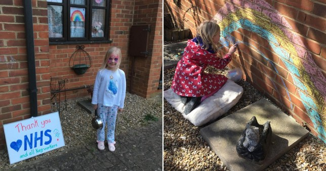 Sam Gray and her daughter Sophie chalked a rainbow on their wall in support of NHS workers during the coronavirus. However, they were told by their estate agent that it had to be removed after the landlord received a complaint about its presence. The landlord later got in touch to say that it could stay, but by then Sam and her daughter had already removed it.
