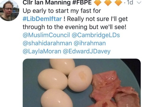 Lib Dem tweets picture of bacon in 'solidarity' with Muslims fasting for Ramadan