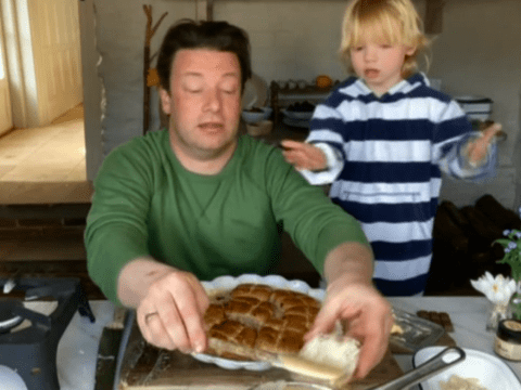 Jamie Oliver and son River show fans how to make hot cross bun custard bake for Easter