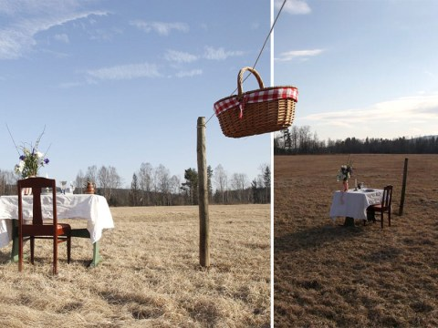 Restaurant for one person with food sent on kitchen window zipline opens in middle of Swedish field