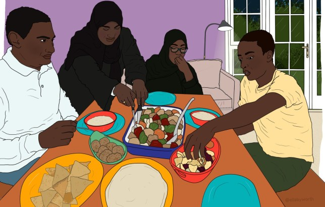Family breaking fast during Ramadan