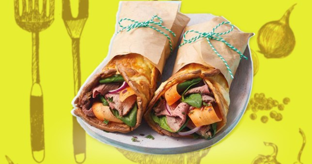 close up of the Aldi Yorkshire pudding wrap