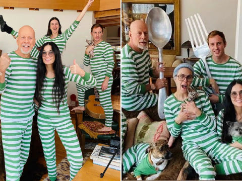 Bruce Willis and Demi Moore wear matching pyjamas as they self-isolate together with children