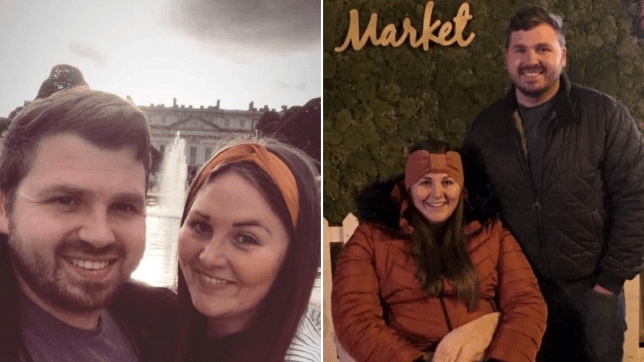 The couple before Sophie fell ill, and after redoing a date