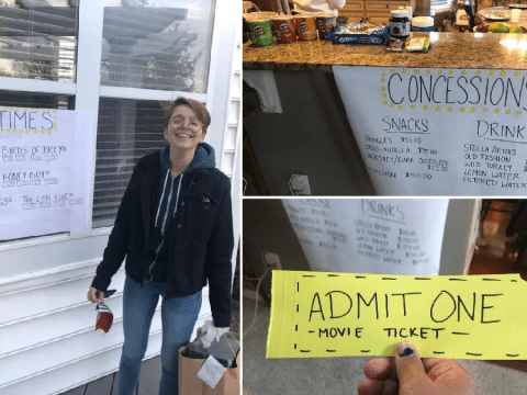 Movie buff transforms home into makeshift cinema for wife – complete with authentically-overpriced snack stand